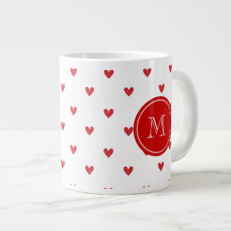 Red Glitter Hearts with Monogram Giant Coffee Mug