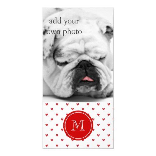 Red Glitter Hearts with Monogram Custom Photo Card