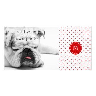 Red Glitter Hearts with Monogram Custom Photo Card