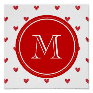 Red Glitter Hearts with Monogram Posters