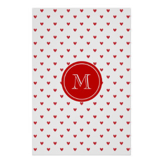 Red Glitter Hearts with Monogram Print