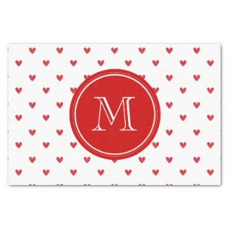 Red Glitter Hearts with Monogram Tissue Paper