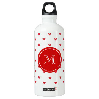 Red Glitter Hearts with Monogram Water Bottle