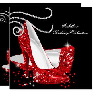 Red Glitter High Heels Black Birthday Party Card