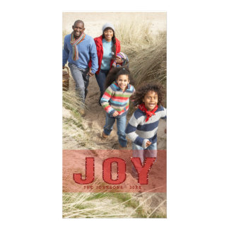 Red Glitter Joy Photo Holiday Greeting Card Picture Card