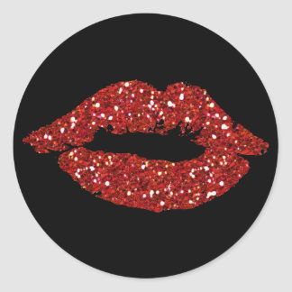 Red Glitter Kiss on Black  Background Stickers