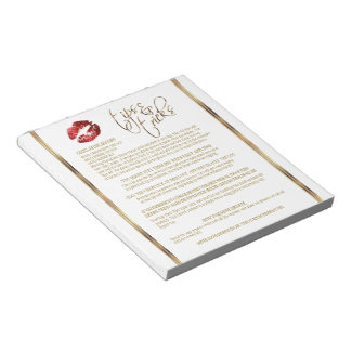 Red Glitter Lip Tips and Tricks Notepad