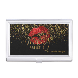 Red Glitter Lips and Gold Confetti Business Card Holder