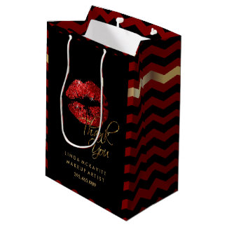 Red Glitter Lipstick and Chevron - Thank You Medium Gift Bag