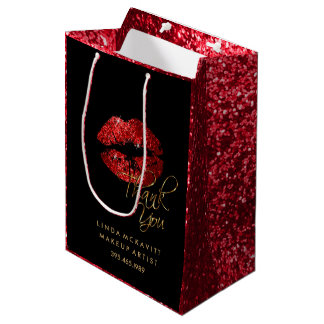 Red Glitter Lipstick and Red Texture - Thank You Medium Gift Bag