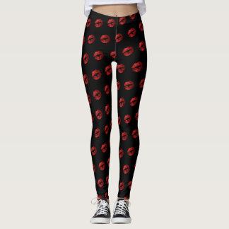 Red Glitter Lipstick Pattern Leggings