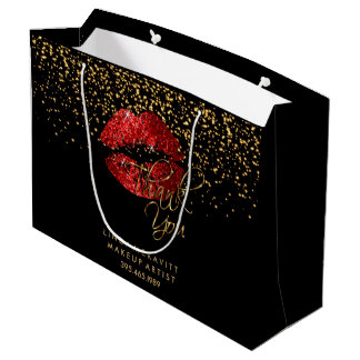 Red Glitter Lipstick - Thank You Large Gift Bag