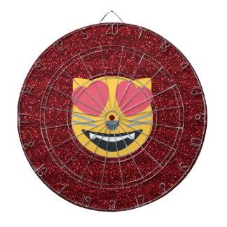 Red Glitter Love Cat Emoji Dart Board