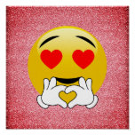 Red Glitter Love Heart Emoji Poster