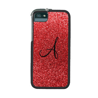 Red glitter monogram case for iPhone 5