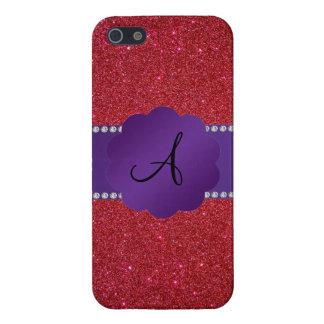 Red glitter monogram diamonds cover for iPhone 5