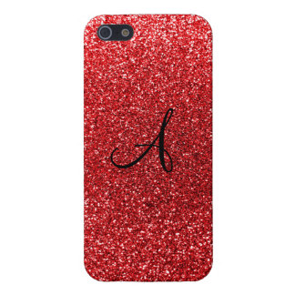 Red glitter monogram iPhone 5/5S cover