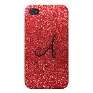 Red glitter monogram iPhone 4 cover