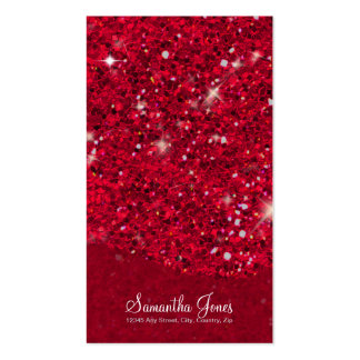 Red Glitter Pattern Business Card Template