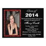 Red Glitter Photo Frame Graduation Invitation