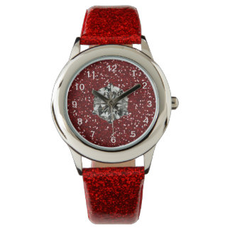 Red Glitter Rhinestone Style Glam Girl Watch