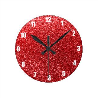 Red glitter round clock