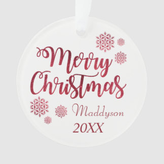 Red Glitter Snowflake Personalised Ornament