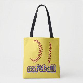 Red Glitter Softball Stitches w/Softball Text Tote Bag