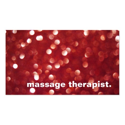 Red Glitter Sparkles Bokeh Massage Therapist Spa Business Card Templates
