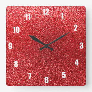 Red glitter square wall clock