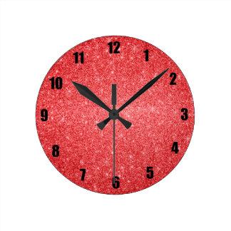 Red glitter stars wall clock
