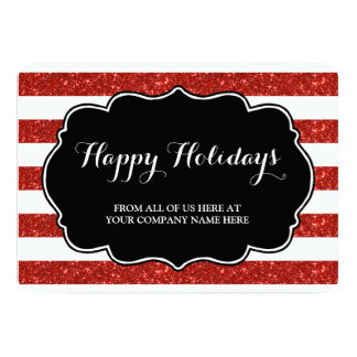 Red Glitter Stripes Christmas Cards Business