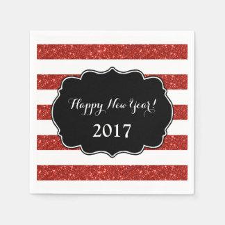 Red Glitter Stripes Happy New Year 2017 Napkin Paper Serviettes