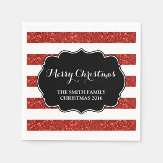 Red Glitter Stripes Merry Christmas Napkin Disposable Napkin
