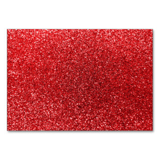 Red glitter table card