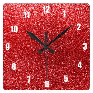 Red glitter wall clock