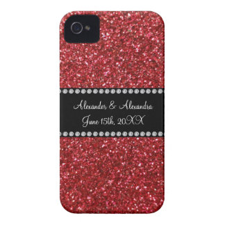 Red glitter wedding favors iPhone 4 cover