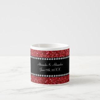 Red glitter wedding favors espresso mugs