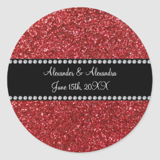 Red glitter wedding favors round sticker