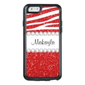 Red Glitter White Zebra OtterBox iPhone 6/6s Case