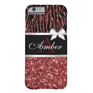 Red Glitter Zebra Name Barely There iPhone 6 Case