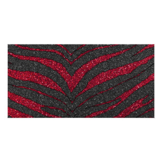 Red Glitter Zebra Print Custom Photo Card