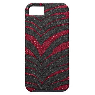Red Glitter Zebra Print iPhone 5 Case