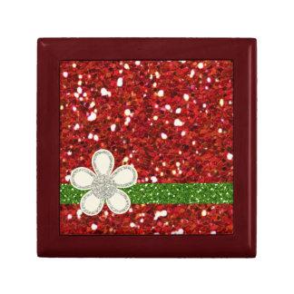Red Glitters Small Tile Giftbox Small Square Gift Box