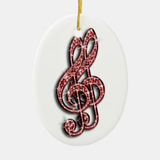 Red Glitzy Sparkly Diamond Music Notes Ceramic Oval Decoration