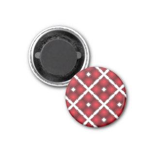 Red Globes, White Rhombuses Retro Pattern 3 Cm Round Magnet