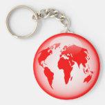 Red Glossy Globe Keychains