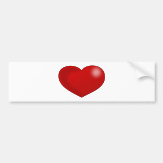 Red Glossy Valentine Heart Bumper Stickers