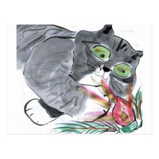 Red Glow & Frank, the Gray Tiger Kitten Postcard