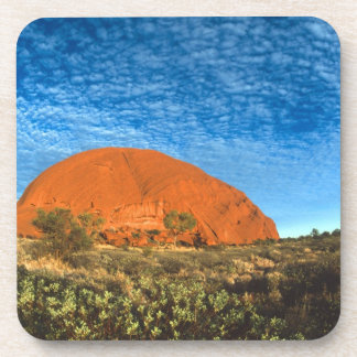 Red Glow of the Famous Ayers Rock in the Outback Beverage Coasters